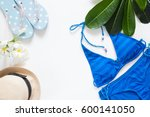 overhead view of summer concept ... | Shutterstock . vector #600141050