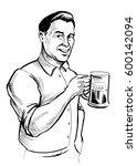 man with beer mug | Shutterstock . vector #600142094
