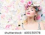 beautiful romantic young woman... | Shutterstock . vector #600150578