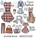 pack with woman dresses... | Shutterstock .eps vector #600151220