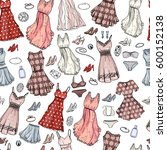 seamless pattern with woman... | Shutterstock .eps vector #600152138