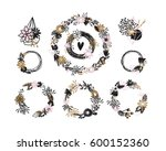 vector floral wreaths and... | Shutterstock .eps vector #600152360