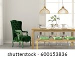 3d illustration. stylish dining ... | Shutterstock . vector #600153836