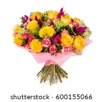 bouquet of flowers top view on... | Shutterstock . vector #600155066