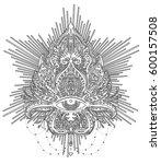 vector ornamental lotus flower  ... | Shutterstock .eps vector #600157508