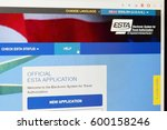 Small photo of Hradec Kralove, Czech Republic 10.3.2017. ESTA - Electronic system for travel authorization. Official website on computer screen. Permission for traveling to the USA. Illustrative editorial.