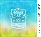 spring badge vector typographic ... | Shutterstock .eps vector #600163958