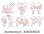 vector set of six cartoon... | Shutterstock .eps vector #600164024