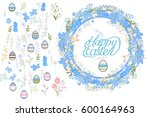 round wreath made of blue... | Shutterstock .eps vector #600164963
