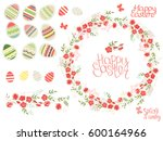 round wreath made of blue... | Shutterstock .eps vector #600164966