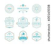 spring typographic badges... | Shutterstock .eps vector #600165038