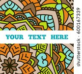 vintage card with mandala... | Shutterstock .eps vector #600167339