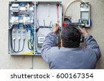 picture of an electrician... | Shutterstock . vector #600167354