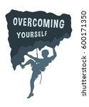 silhouette of a climber. | Shutterstock . vector #600171350