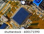large micro chip and computers... | Shutterstock . vector #600171590