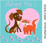 cat and dog adoption animals  | Shutterstock .eps vector #600176324