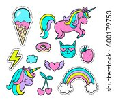 a set of  cartoon patch badges  ... | Shutterstock .eps vector #600179753