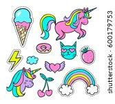 a set of  cartoon patch badges  ... | Shutterstock .eps vector #600179753
