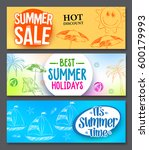 summer sale and summer holidays ... | Shutterstock .eps vector #600179993