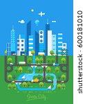 green city. flat design... | Shutterstock .eps vector #600181010