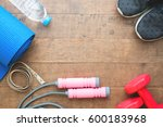 flat lay of sport equipments on ... | Shutterstock . vector #600183968