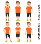 boys different emotions vector... | Shutterstock .eps vector #600193526