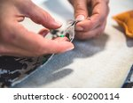 sewing  tailoring  pinning... | Shutterstock . vector #600200114