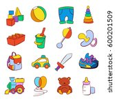 hand drawn cartoon baby toys... | Shutterstock .eps vector #600201509