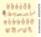 big set of colored doodle hands ... | Shutterstock .eps vector #600204290