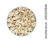 popcorn in white round bowl...   Shutterstock . vector #600205868