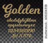 gold glitter vector font ... | Shutterstock .eps vector #600206558