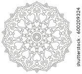 page coloring mandala with...   Shutterstock . vector #600209324