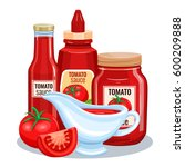 tomato sauce  ketchup in glass... | Shutterstock .eps vector #600209888
