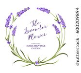 the lavender wreath with... | Shutterstock . vector #600209894