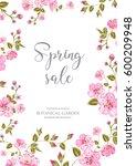 cherry blossom sale card....   Shutterstock . vector #600209948