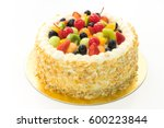 fruits cake isolated on white... | Shutterstock . vector #600223844
