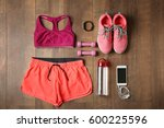 sport clothes and equipment on...   Shutterstock . vector #600225596