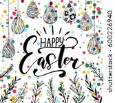 happy easter holiday... | Shutterstock .eps vector #600226940