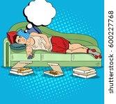pop art lazy man lying on sofa... | Shutterstock .eps vector #600227768