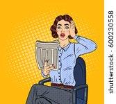 pop art shocked business woman... | Shutterstock .eps vector #600230558