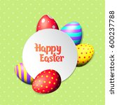Happy Easter Eggs And Text On...