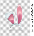 Stock vector vector pink rabbit ears isolated on transparent background 600246164