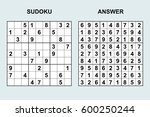 vector sudoku with answer 50.... | Shutterstock .eps vector #600250244