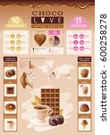 cacao chocolate icons. healthy... | Shutterstock .eps vector #600258278