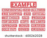 set of red word stamps in a... | Shutterstock .eps vector #600262028