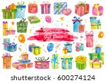 watercolor painted collection...   Shutterstock . vector #600274124