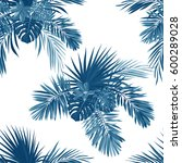 blue indigo tropical pattern... | Shutterstock .eps vector #600289028