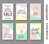 happy easter cards set with... | Shutterstock .eps vector #600298904