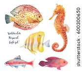 watercolor tropical fish set.... | Shutterstock . vector #600300650