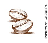 painted coffee beans  sketch ... | Shutterstock .eps vector #600301478